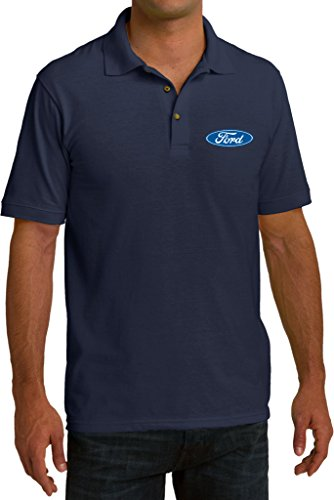 Mens Ford Small Ford Oval (Pocket Print) Pique Polo Shirt, Navy, 2XL