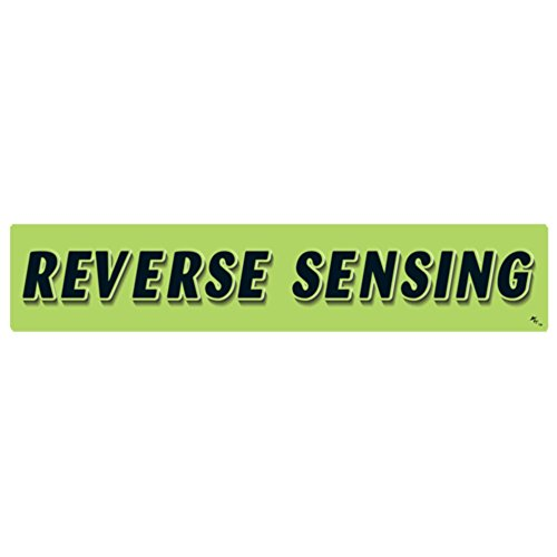 Sensing Flag - Versa-Tags 14.5 Inch Black & Chartreuse Green Adhesive Windshield Slogan Car Dealer Sticker - Reverse Sensing