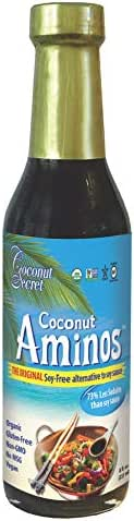 Coconut Secret Coconut Aminos - 8 Fl Oz (Pack of 1) - Low Sodium Soy Sauce Alternative, Low-Glycemic - Organic, Vegan, Non-GMO, Gluten-Free, Kosher - Keto, Paleo, Whole 30 - 48 Servings