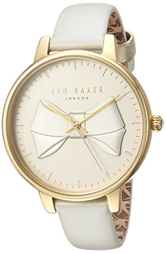 Ted Baker Women's Brook Stainless Steel Quartz Watch with Leather Strap, Grey, 14 (Model: TEC0185002