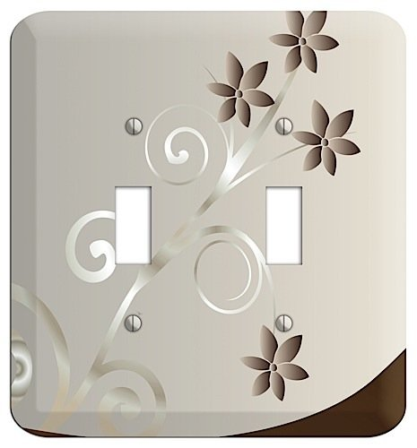 Swirl Switchplate - Grey Floral Swirl Sprig Double Toggle Switchplate