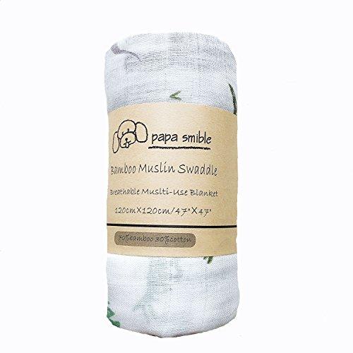 Papa Smible Muslin Swaddle Blankets Bamboo Cotton Baby Swaddle Wrap, 47×47 Larg Wrap Swaddle, Tiger, Dinosaur,&Flamingo (Dinosaur)