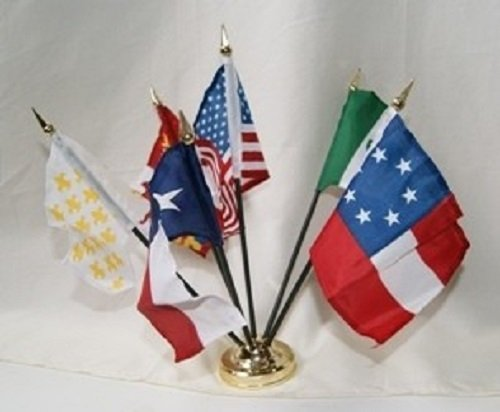 Flags of Texas Republic 6-Flag Desk Table Top Set