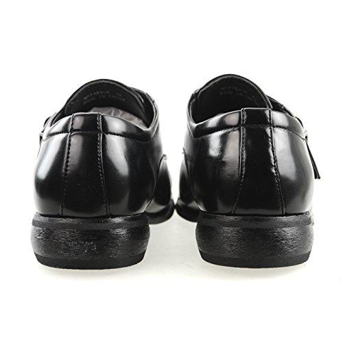MM / ONE Herren Monkstrap Oxford Schuh Wasserabweisend Plain Toe Slip-on Medaillon Schwarz Braun Dunkelbraun Mpt153-0 Schwarz