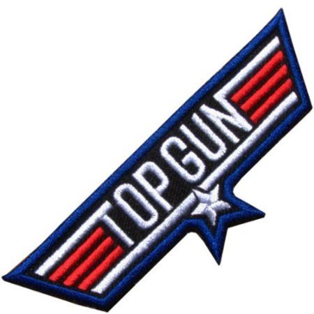 Top Gun Jacket Patches (Top Gun USA Blue Appliques Hat Cap Polo Backpack Clothing Jacket Shirt DIY Embroidered Iron On / Sew On)