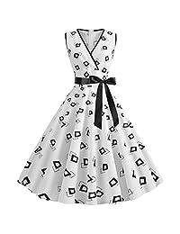 Women 1950s Retro Dress,Fapizi Summer Fashion Sleeveless Bow V Neck Dot Printing Party Prom Swing Dress