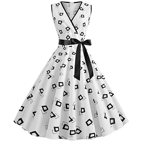 Womens Dresses Vintage Dress for Women Mini Dress 50s Hepburn Floral Printed Elegant Party Swing Dress ()
