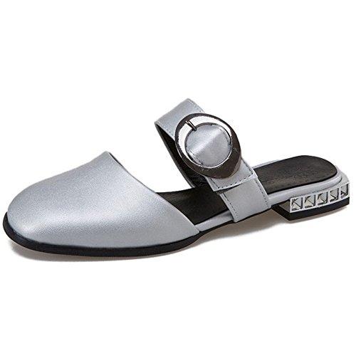 Zapatos Zapatillas COOLCEPT Planas punta Plateado para mujer Moda cerrada Janes Mary con T7qTZvtw