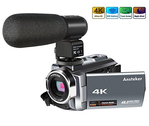 4K Camcorder, Ansteker Ultra-HD 1080P 24MP 30FPS Digital WiFi Video Camera, IR Night Vision Camcorder with Microphone and...
