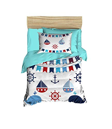 100% Cotton Nautical Baby Bedding Ship and Anchor Themed Nursery Baby Bed Set, Toddlers Crib Bedding for Baby Boys and Girls, Duvet Cover Set with Comforter, 5 Pieces from OZINCI