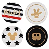 """Disney Mickey Mouse Coasters, Set of 4 - Gold Pinache Mickey Designs - Ceramic with Cork Backing - 4"""" Round"""