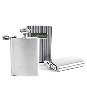 MyLifeUNIT Stainless Steel Hip Flask Set Whiskey Liquor Flask Set for Travel Container, 8 oz