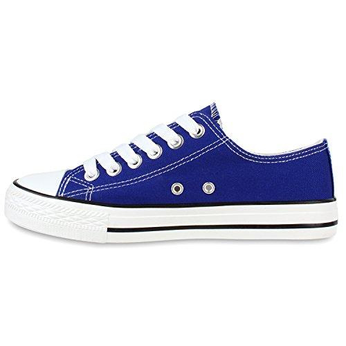 Stiefelparadies Damen Sneakers Spitze Denim Sportschuhe Strass Stoffschuhe Blumen Prints Textil Schuhe Sneaker Low Flandell Blau