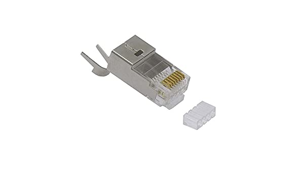 InstallerParts RJ45 Cat 6 Shielded Plug Solid 50 Micron 3-Prong w//Inserter 100pk