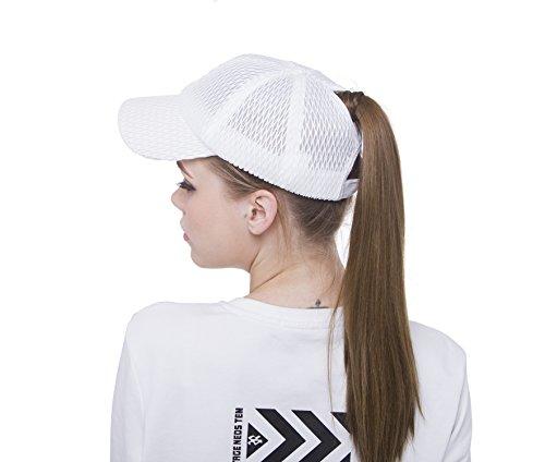 Sven Home Breathable mesh Ponytail Women's Summer Outdoor Sport Baseball Hat Golf Running Fishing Visor Sun Cap (White) by Sven Home (Image #1)