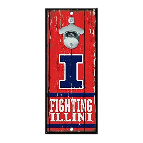 WinCraft NCAA University Illinois Illini Wood Bottle Opener Sign, 5