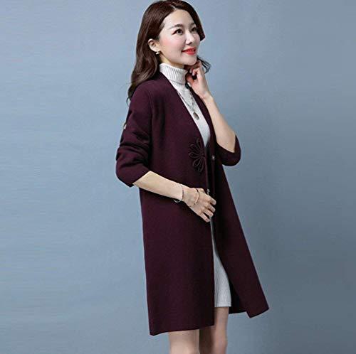 Chic Chic Elegante Donna Giubotto Reeseiy Lunga Casual Coat Primaverile Autunno Autunno Autunno Violett Puro AqS0Wtfx