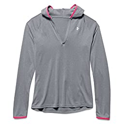 Under Armour Tech LS Hoody - Women\'s True Gray Heather / Harmony Red XL