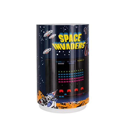 Retro Space Invaders - Paladone Space Invaders Projection Night Light - Retro Video Game Light with Sounds