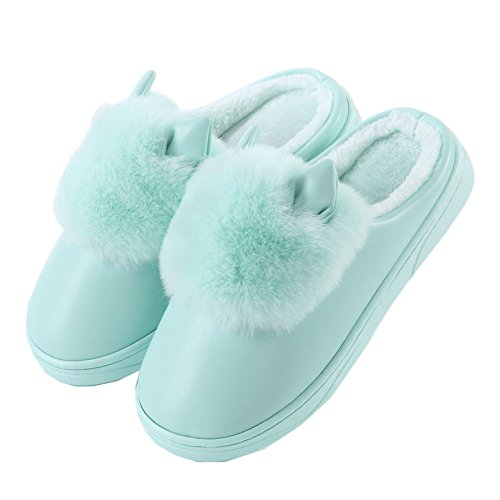 Unisex home boots cotton PU winter plush Green ears Cute cat shoes warm slippers YqawTFC