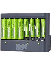 100% Peak Power batterij oplader U812 - Duurzame Keuze - USB batterijlader incl. oplaadbare batterijen NiMH batterij 4 x AA 2300 mAh en 4 x AAA 800 mAh