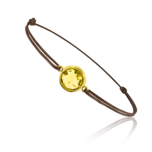 Tousmesbijoux Bracelet cordon Or jaune 750/00 et quartz jaune taille ronde