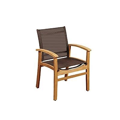 Amazonia Teak Georgetown Brown Sling Armchair - Amazonia Teak Collection Armchair Dimensions: 22Lx24Wx36H. Armchair Seat Dimensions: 17Dx20Wx18H. High Quality Teak Wood (Tectona Grandis) - patio-furniture, patio-chairs, patio - 41zGxdNHo L. SS400  -