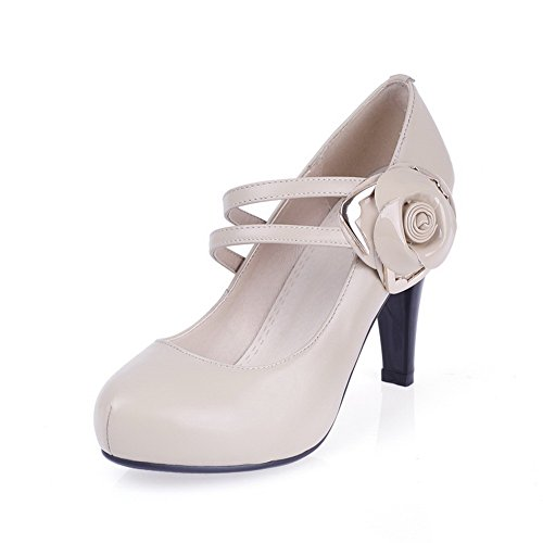 Pumps High Pull Leather Shoes Heels On Cow Closed Nude Toe Pointed Solid Women's WeiPoot UqnBTT