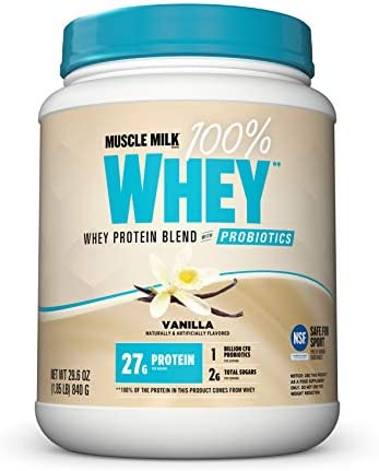 Muscle Milk 100 Whey Powder Blend with Probiotics, Vanilla, 27g Protein, 1.85 Pound