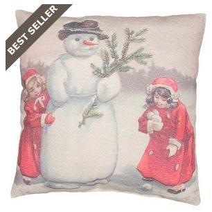 (Primitive Vintage Style Build a Snowman Throw Accent Pillow)