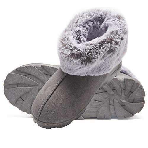 Jessica Simpson Tipped Faux Fur Microsuede Super Soft Bootie Slippers with Indoor Outdoor Sole (Size Large, Grey) -