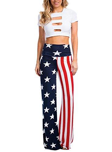 Bdcoco Women High Elastic Wide Leg Waist Tied American Flag Stripe Lounge Pants