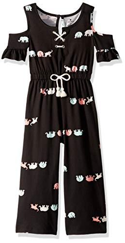 One Step Up Girls' Toddler Knit Jumpsuit, Black Elephant, 3T ()