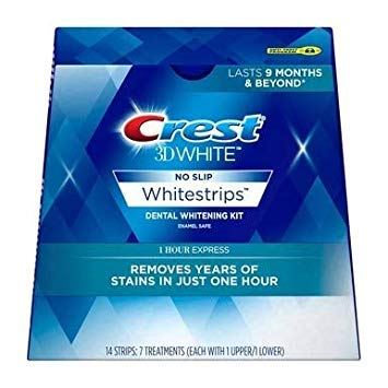 Crest 3D White No Slip Whitestrips Dental Whitening Kit 1 Hour Express - 7 treatments, Pack of 5