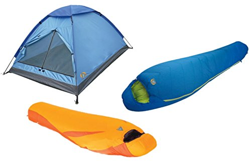 High Peak USA Alpinizmo 20F Summit & Latitude Sleeping 3 Men Tent Combo Set, Blue/Orange, One (High Peak Camping Tents)