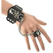 HZMAN Black Leather Wide Bracelet Skull Pirate Bangle Rivet Cuff Wristband Ring Set