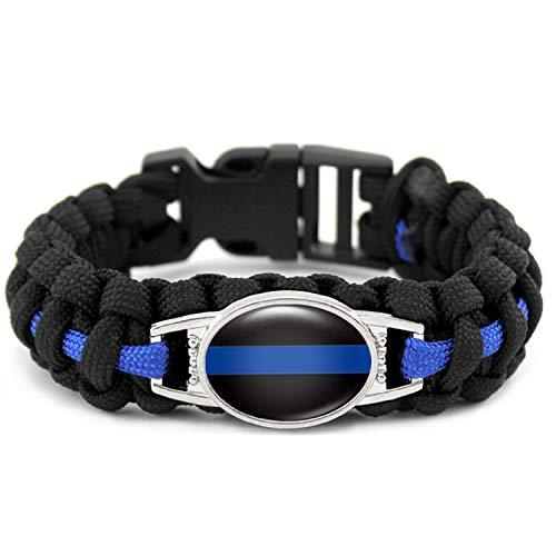 Thin Blue Line Blue Black Lives Matter Wife Mom Sister Dad Policeman K9 Canine Dog Patrol Dog Outdoor Bracelets - Strand Open Heart Bracelet