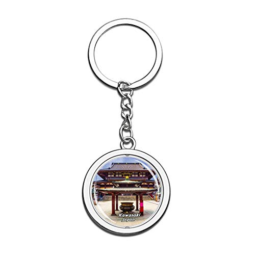 Kawasaki Japan Keychain 3D Crystal Spinning Round Stainless Steel Keychains Travel City Souvenir Key Chain Ring -