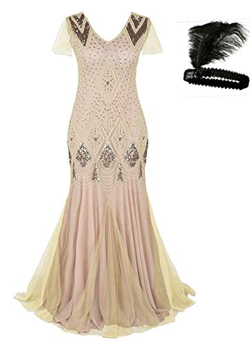 MAYEVER Women 1920s Long Prom Gown Beaded Sequin Mermaid Hem Ball Evening Dress with Sleeve Headband Free A80 (2XL, Beige Gold)]()