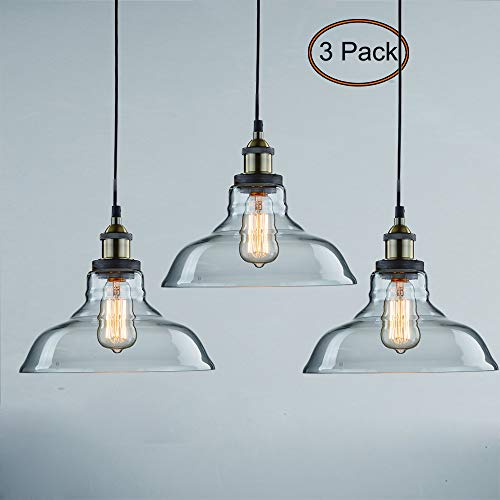 CLAXY Ecopower Industrial Pendant Lighting Glass Kitchen Island Hanging Lights-3 Pack (Clear Glass Pendant Lights For Kitchen Island)
