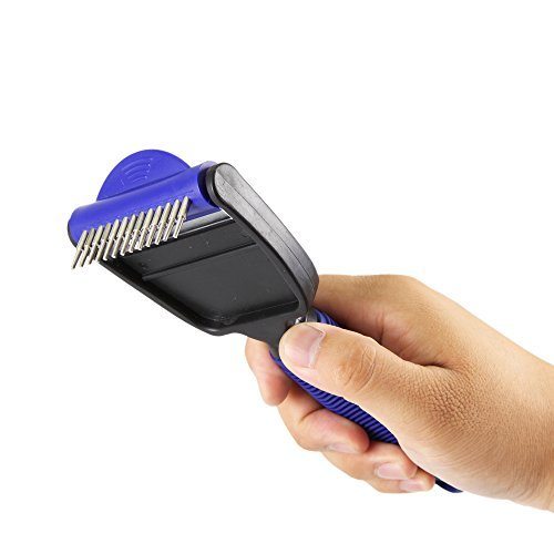 Petroad Desheddinator 2-in-1 Shedding Tool, Cat Brush Dog Comb and Undercoat Rake Deshedder for Cats Dogs and Horses, Small Size