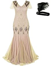 M Mayever Women 1920s Long Prom Gown Beaded Sequin Mermaid Hem Ball Evening Dress with Sleeve