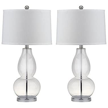 Safavieh Lighting Collection Mercurio Clear Double Gourd 28.5-inch Table Lamp (Set of 2)