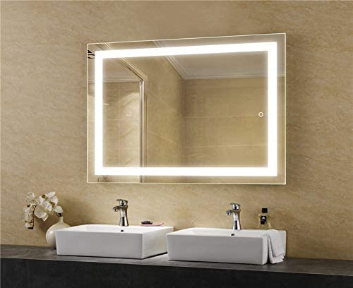 LEDMyplace 36×48 Inch LED Bathroom Lighted Mirror, Inner Window Style Lighted Vanity Mirror Includes Defogger, Touch Switch Controls LED Light with On-Off and CCT Remembrance, ETL Listed