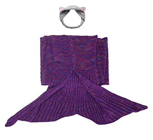 Kids Mermaid Tail Blanket Cat Headband Purple Throw Girl Toddle Long Extra Size Fishtail Sleeping Bag Soft Warm Snuggie Weighted Receiving Knitted Cover Living Room Car Camp Toy (Blanket-Kids-2) ()
