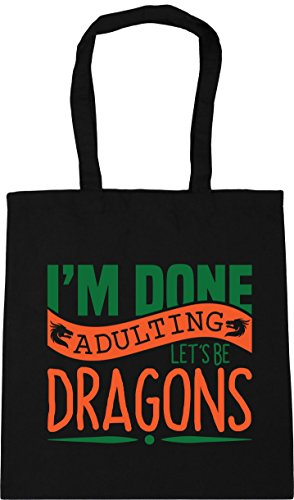 litres 10 I'm x38cm Dragons Be Gym Shopping Adulting Black Tote HippoWarehouse Bag Beach Done 42cm Let's OxngF6q