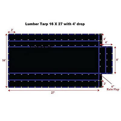 Light Weight Lumber Tarp, Black Color, 15OZ Gauge, Lighter Weight for Easy Handling, Patchable and Repairable, Made by Xtarps