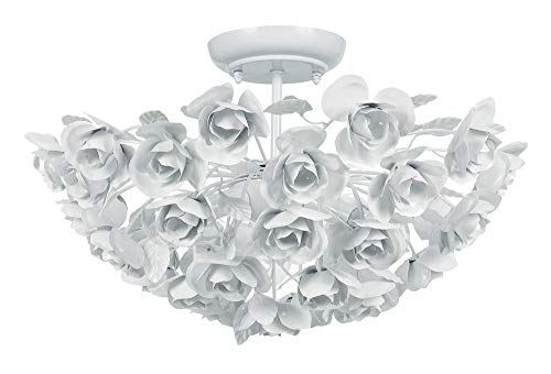 Crystorama 530-WW Leaf, Flower, Fruit Three Light Ceiling Mount from Cypress collection in Whitefinish,