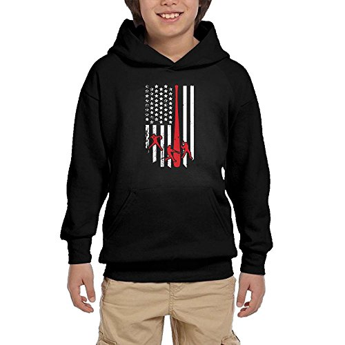 Baseball American Flag 100% Cotton Pullover Hoodies With Pocket For Boys
