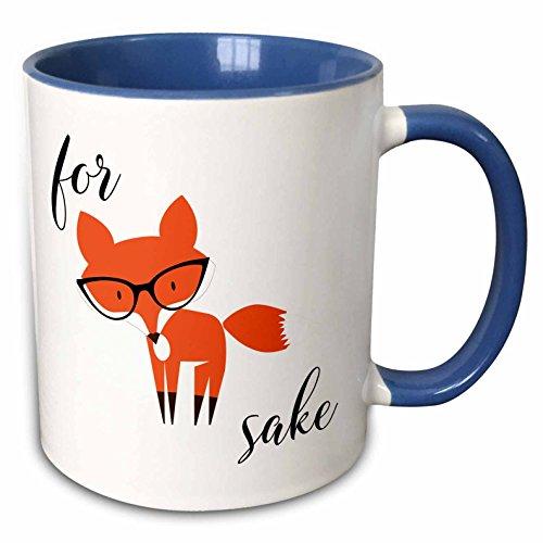 3dRose mug_235574_6 For Fox Sake - Two Tone Blue Mug, 11oz from 3dRose